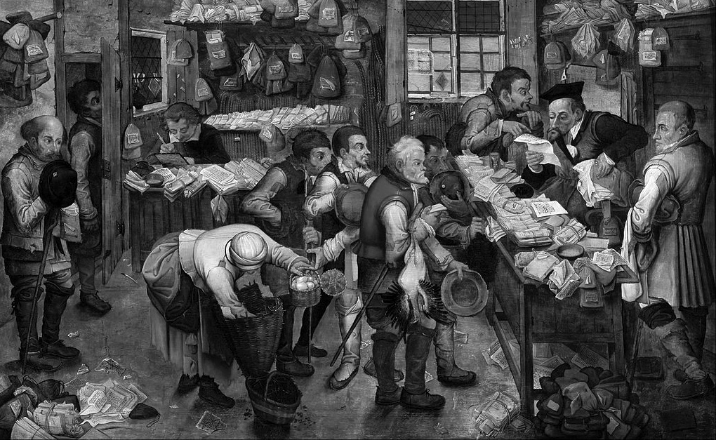 The Tax Collectors, by Pieter Brueghel the Younger (1620-1640). The Black and White Version!