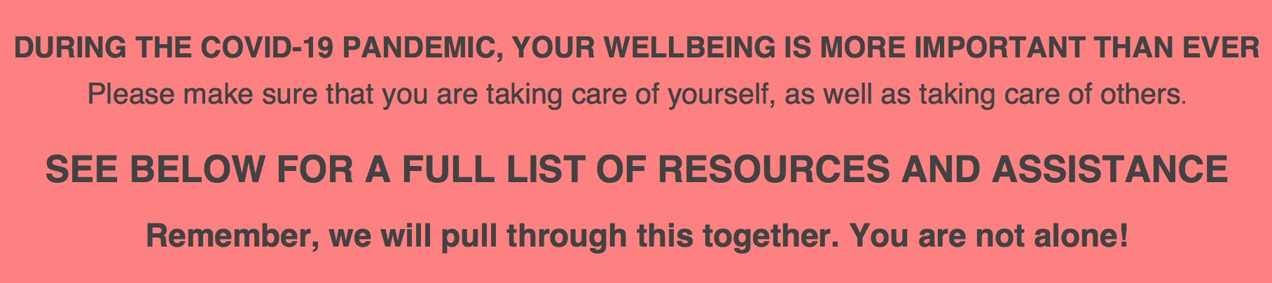 Corona and Wellbeing