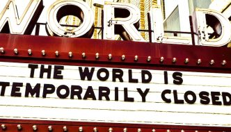 """Image of a theatre sign saying """"CLOSED"""""""